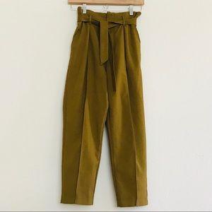 Zara Khaki Green Crop Pants SZ XS